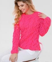 Теплые пуловер крупной вязки
