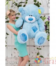 Большой плюшевый мишка Тедди голубого цвета