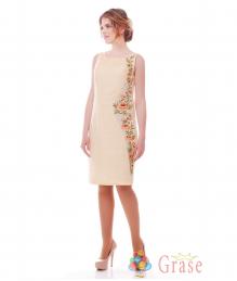 Платье-вышиванка молочное